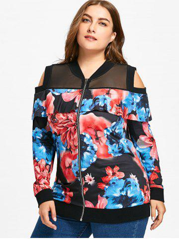 Plus Size Floral Print Cold Shoulder Jacket