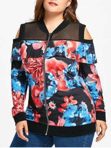 Trendy Plus Size Floral Print Cold Shoulder Jacket