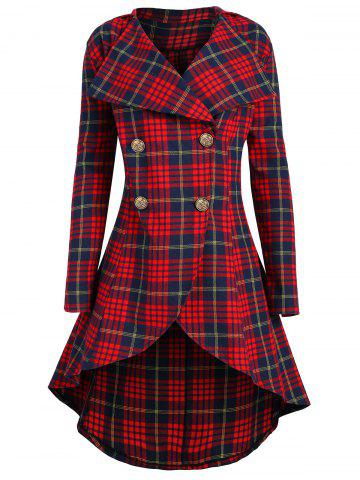 a5abaaaab8a Plus Size Double Breasted Plaid Coat