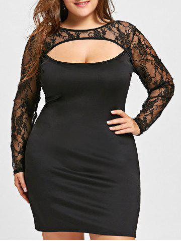 Shop Lace Trim Cut Out Plus Size Dress