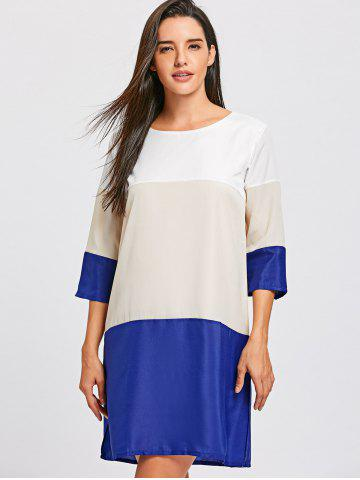 Casual Scoop Neck Color Block 3/4 Sleeve Dress For Women