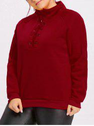 Plus Size Lace Up Fleece Lined Sweatshirt -