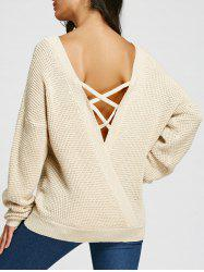 Criss Cross Backless Drop Shoulder Jumper Sweater -