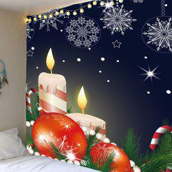 Christmas Candles Candy Cane Balls Printed Tapestry -