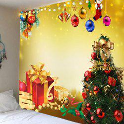 Christmas Tree Decorations And Gifts Patterned Wall Tapestry - Golden - W91 Inch * L71 Inch