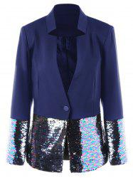 Sequined Trim One Button Blazer -
