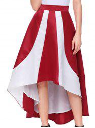 Color Block High Low Maix Skirt -