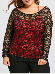 Plus Size Sheer Lace Blouse and Tank Top -