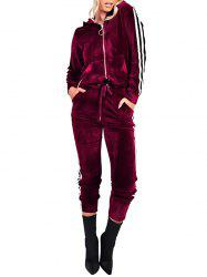 Striped Long Sleeve Velvet Zipper Sweat Suit -