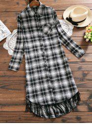 Plaid Long Sleeve Fringe Shirt Dress -