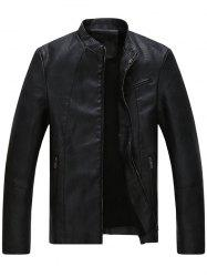 Stand Collar Full Zip Faux Leather Jacket -