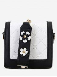 Quilted Flower Color Blocking Handbag -