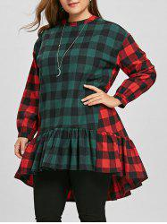 Flounce Plus Size Color Block Plaid Blouse -