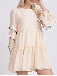 Round Neck Ruffle Tiered Blouse -