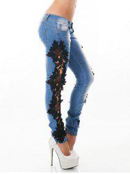Lace Insert Light Wash Skinny Jeans -