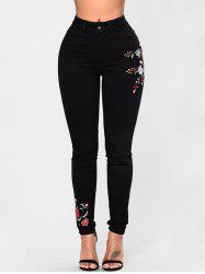Skinny High Waisted Embroidered Jeans -