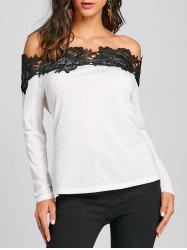 Color Block Lace Trim Off Shoulder Blouse -