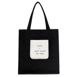 Contrasting Color Letter Print Canvas Shoulder Bag -