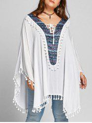 Plus Size Tassel Lace Up Batwing Sleeve Blouse -