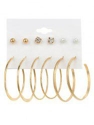 Rhinestone Artificial Pearl Hoop Earring Set -