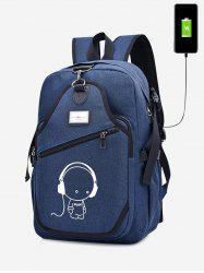 Cartoon Print USB Charging Port Luminous Backpack -