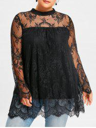Plus Size Sheer Lace Scalloped Edge Blouse -