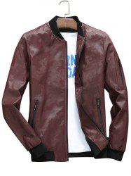 Zip Up Camo Faux Leather Bomber Jacket -
