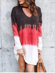 Tie Dye Ombre Cutout Tunic Dress -