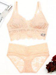 See Through Lace Eyelash Bralette Set -