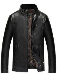 Faux Leather Badge Zip Up Jacket -
