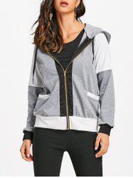 Zipper Raglan Sleeve Hooded Jacket -