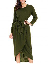 Long Sleeve Tulip Belted Dress -