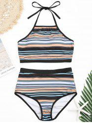 Underwire Halter Striped Bikini Swimsuit -
