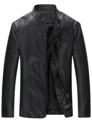 Grandad Collar Full Zip Faux Leather Jacket -