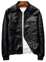 Star Patch Faux Leather Camo Bomber Jacket -