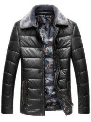 Faux Fur Collar Padded Zip Up PU Leather Coat -