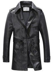 Belt Double Breasted PU Leather Trench Coat -