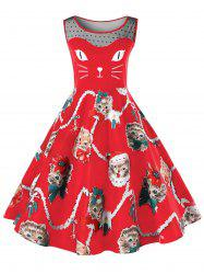 Christmas Plus Size Kitten Pattern Swing Dress -