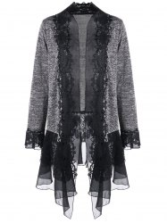 Plus Size Lace Trimmed Open Front Cardigan -
