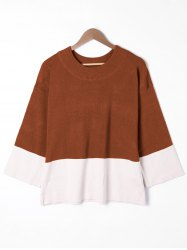 Plus Size Two Tone Drop Shoulder Sweater -