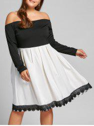 Plus Size Long Sleeve Fit and Flare Dress -
