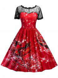 Vintage Christmas Lace Insert Printed Pin Up Dress - Red - Xl