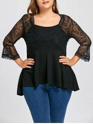 Plus Size Lace Trim Babydoll Top -