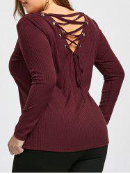Plus Size Lace Up Cutout Top -