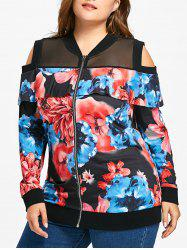 Plus Size Floral Print Cold Shoulder Jacket -