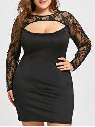 Lace Trim Cut Out Plus Size Dress -