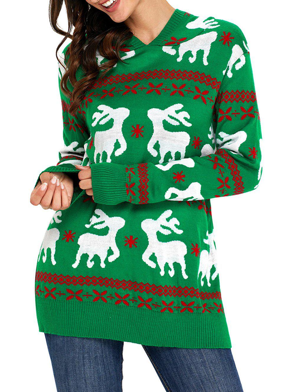 Christmas Deer Jacquard Hooded SweaterWOMEN<br><br>Size: 2XL; Color: GREEN; Type: Pullovers; Material: Acrylic; Sleeve Length: Full; Collar: Hooded; Style: Fashion; Pattern Type: Animal,Geometric; Season: Fall,Spring,Winter; Weight: 0.6100kg; Package Contents: 1 x Sweater;