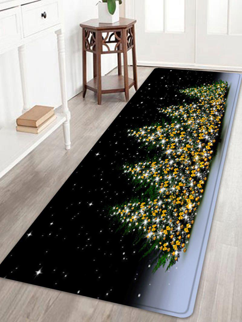 Christmas Trees Night Pattern Anti-skid Water Absorption Area RugHOME<br><br>Size: W24 INCH * L71 INCH; Color: COLORMIX; Products Type: Bath rugs; Materials: Flannel; Pattern: Christmas Tree; Style: Festival; Shape: Rectangle; Package Contents: 1 x Rug;