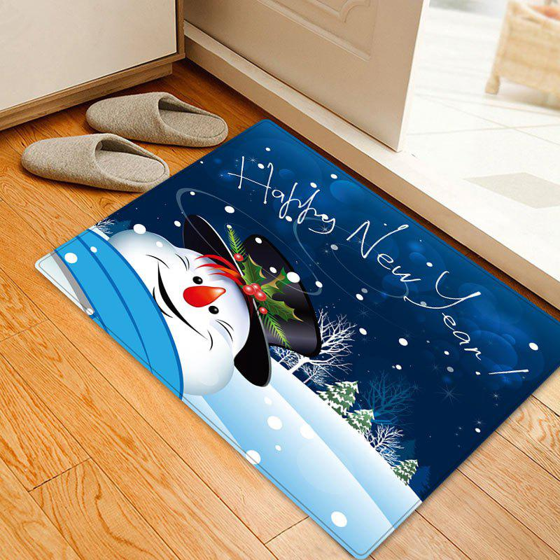 Outfit Happy New Year Snowman Pattern Anti-skid Water Absorption Area Rug