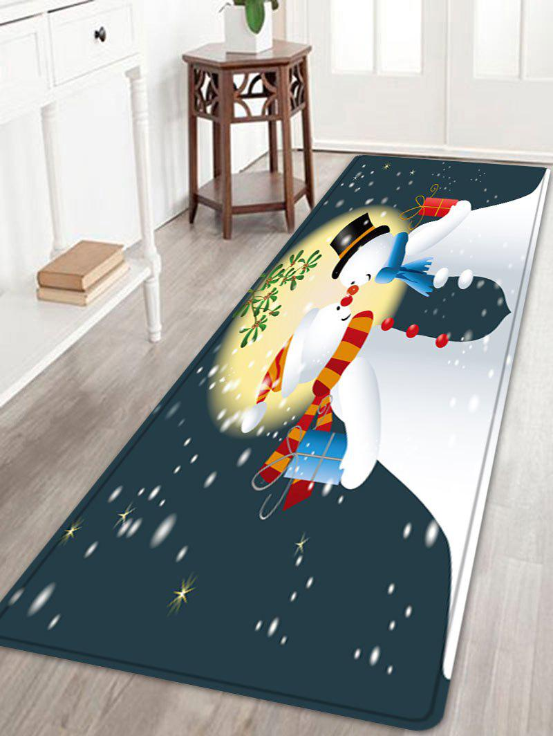 Hot Christmas Moon Snowmen Couple Pattern Anti-skid Water Absorption Area Rug